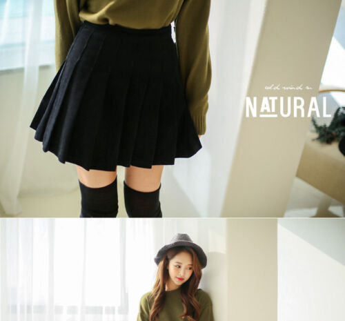 Black Pleated Corduroy Skort (Skirt And Shorts)