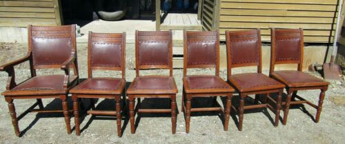 SET OF SIX VICTORIAN EASTLAKE AESTHETIC WALNUT DINING CHAIRS