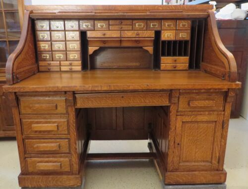 "ANTIQUE SERPENTINE ""S"" ROLL TOP DESK BY SHELBYVILLE DESK CO IND USA"