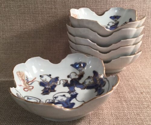 "Set 6 Antique Asian Imari Porcelain 6"" Bowls Scalloped Edge Design Dancing Scene"