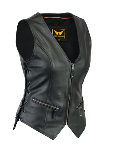 Womens Motorcycle Leather Vest Genuine Cowhide Leather Black Concealed Carry