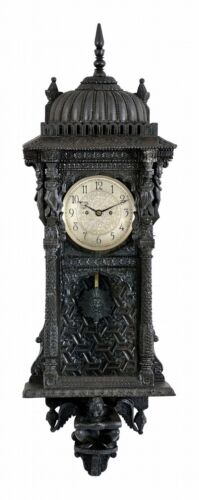 Wall clock, the case of tropical hardwoods, replete with Asian and Mo... Lot 847