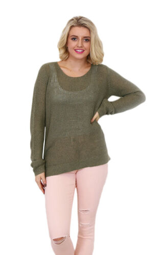 LIVING DOLL KHAKI DELICATE KNIT TOP WITH SCOOP NECKLINE.