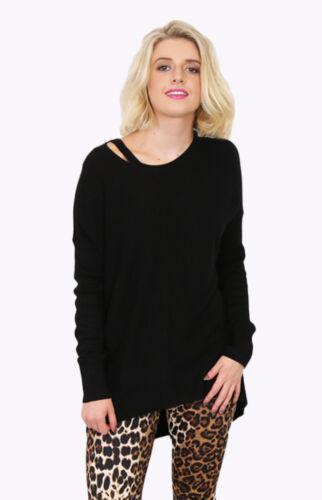 LIVING DOLL BLACK KNIT TOP WITH DETAIL ON NECKLINE.