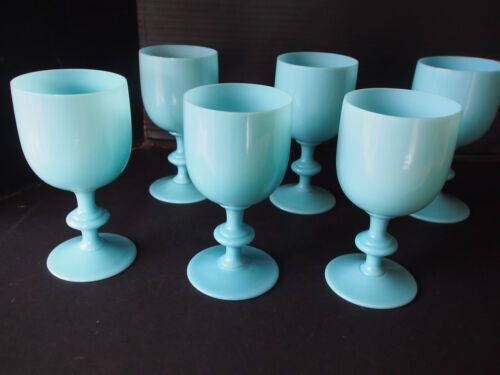 "6.5"" Lot 6 Portieux Vallerysthal PV Blue Opaline Water Wine Stem Goblets Glasses"