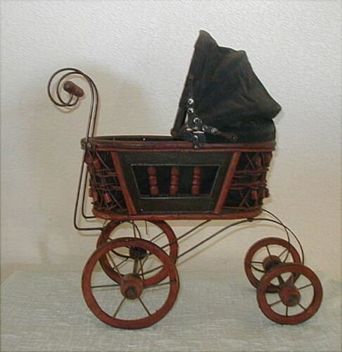 VINTAGE ORNATE WICKER BABY DOLL STROLLER CARRIAGE PLUS VINTAGE WIRE DOLL FORM