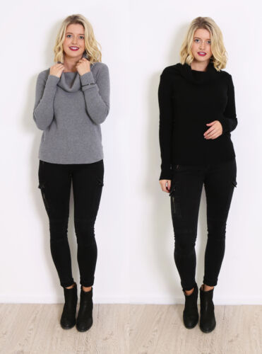 LIVING DOLL GREY & BLACK SOFT KNITTED JUMPER WITH COWL NECKLINE.
