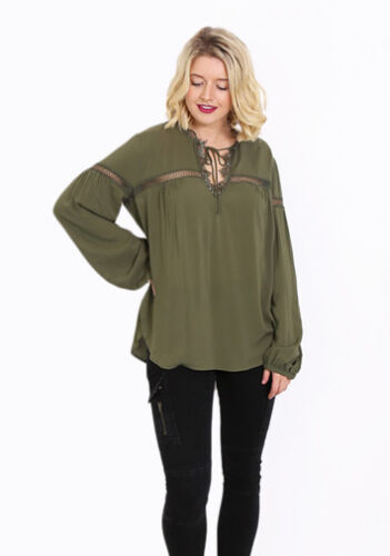LIVING DOLL BEAUTIFUL SOFT KHAKI TOP WITH LACE DETAILING.