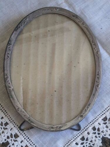 Antique Small Oval Metal Picture Frame ~ dated 1908