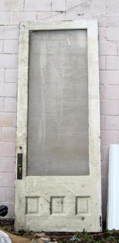 1 Very Tall Antique Arts & Crafts Oak Door from 1890 w Hardware & Glass