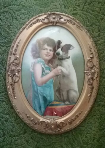 Antique Oval Gesso Frame W/Bubble/Convex Glass - Darling Print of Girl with Dog!