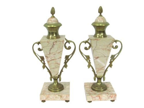 Antique French Gilt & Marble Cassolettes Paris Apartment Decor Marble Napoleon I