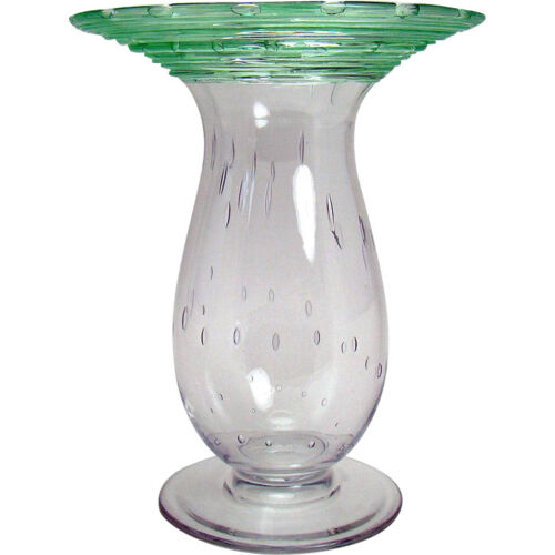 Steuben Controlled Bubble Art Glass Vase with Green Threading - 1920's