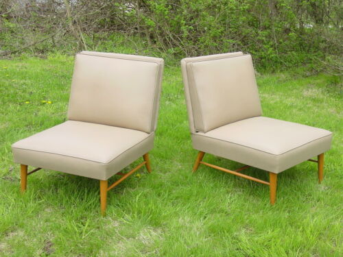 2 vintage 1950s club chairs mid century modern pair Paul McCobb era