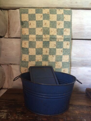 Early Primitive Childs Childrens Tin Wash Tub and Wash Board Old Blue Paint