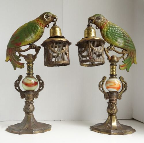 PAIR 30's ART DECO Cast Iron  PARROT LAMPS w/Cages POLYCHROME DIAMOND Mftg As Fo