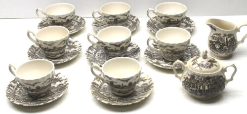 18 pc Royal Mail Ironstone Tea Cup Saucer Creamer Sugar Bowl Staffordshire China