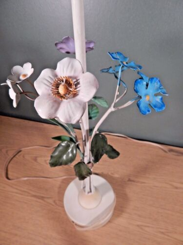 VINTAGE TOLE PAINTED FLOWERS LAMP.  BLUE, LAVENDER AND WHITE
