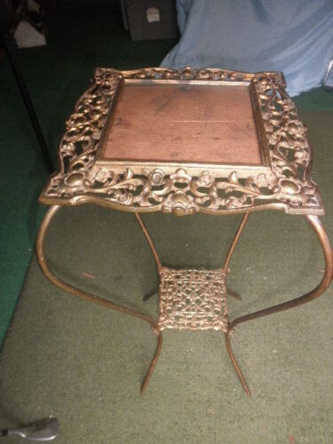 Ornate Antique Victorian Brass glass Top Plant Stand Hall Table French Style
