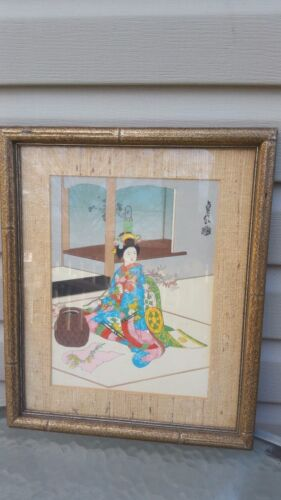 """Japanese Woodblock Print""""by Eiichi Kotozuka Excellent with & Framed"""