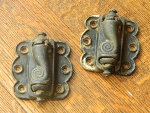 2 Antique Screen Door Hinges Vintage Old Victorian Self Closing Pair of Springs