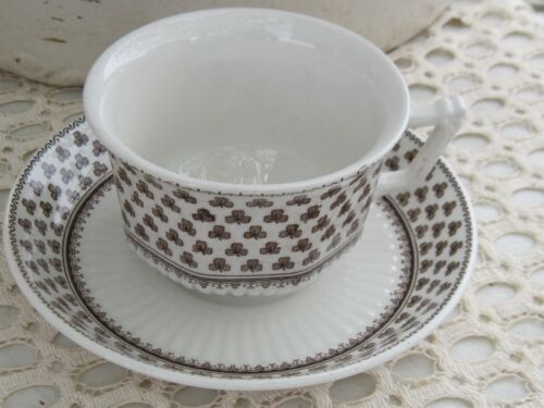 Adams ironstone tea cup and saucer clover brown transfer