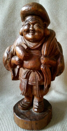 Ant Happy Buddha Figurine Chinese/Japanese Carved Solid Wood Statue Sculpture