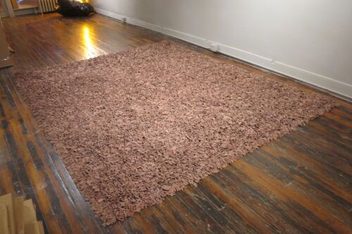1970's Retro mid-century modern mod suede leather shag rug carpet