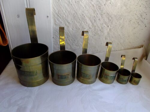 French vintage  set of 6  brass measurement cups nicely collection