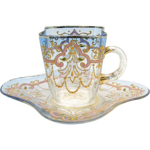 Hand-Enameled Glass Cup and Saucer - Clear to Blue
