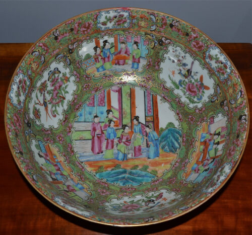 Large Antique Chinese Famille Rose Medallion Punch Bowl Porcelain 19th C