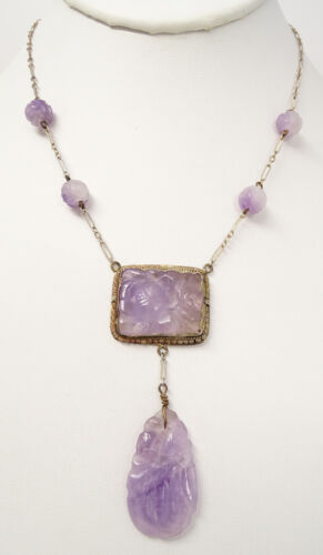 Antique Art Deco Chinese Sterling Carved Amethyst Lavalier Necklace