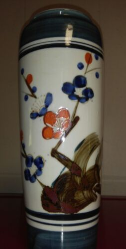 VERY NICE VINTAGE MARKED JAPANESE CHINESE PORCELAIN BLUE VASE LOTUS FLORAL