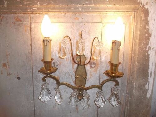 French  bronze single wall light sconce pretty crystal antique
