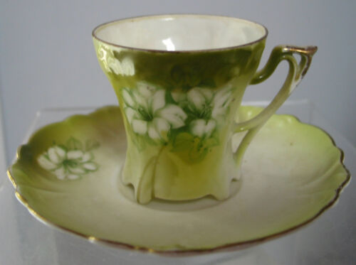 Vintage RS Germany  Cup(Demitasse) and Saucer, Green, Lilly, Collectible