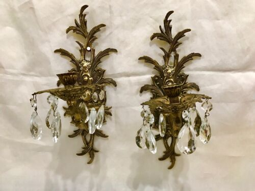 Pair Vintage / Antique Spanish Brass & Crystal Prisms Wall Sconces