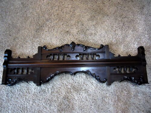 LARGE 1800s Ornate Walnut Victorian Furniture Pediment Carved Cabinet Crest Trim