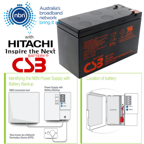 NBN Power Supply Battery by Hitachi CSB 12V 7.2Ah 6 Cell VRLA Sealed Lead Acid