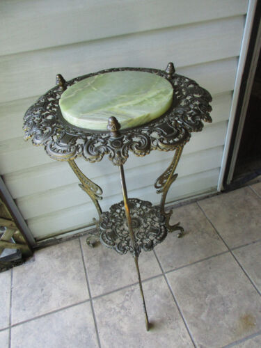 Antique NB & IW Ornate Cast Iron Brass Onyx Marble Plant Stand Table 1891-1911