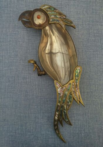 """LARGE 17"""" X 7"""" VINTAGE MEXICAN MIXED METAL ABALONE INLAID PARROT TRAY"""