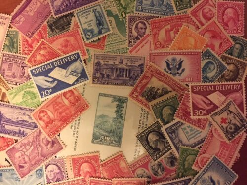 U.S. MINT COLLECTION 400+ VINTAGE STAMPS INCLUDES PLATE BLOCKS SINGLES SHEETS📧 <br/> 1920'S-NOW ALL U.S. MINT/EXCELLENT CONDITION-BEST VALUE