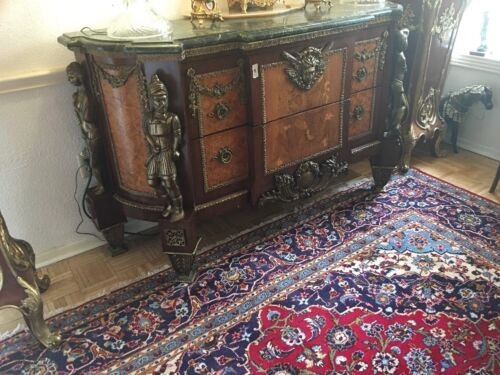 Louis XV style Antique Mahogany Gold Bronze Mount Chest Marble Top