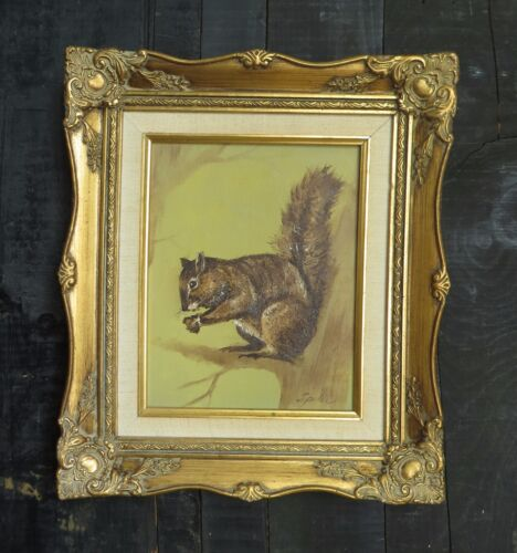Antique Gold Gesso Wood Frame with Old Woodland Squirrel Painting