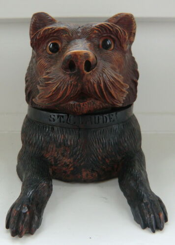 Circa 1920 Black Forest (Brienz) hand carved Inkwell with Dog's Head, St Claude