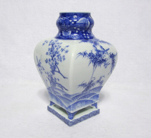 Meiji Period Blue & White Japanese Arita, Hirado Porcelain Vase on Platform Base