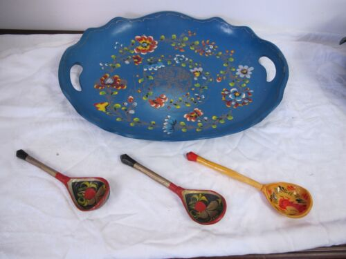 RUSSIAN WOOD PAINTED SPOONS (3) ANTIQUE VINTAGE PRIMITIVE FOLK ART BLUE TRAY