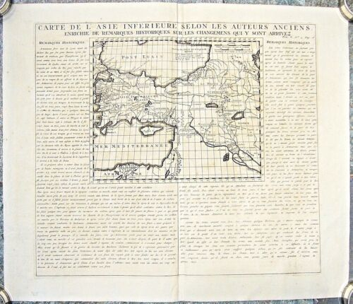 ANTIQUE RARE MAP OF ASIA MINOR WITH CYPRUS AND HISTORICAL NOTES CHATELAIN 1719