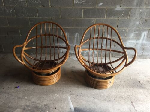 Vintage Wood Cane Swivel Chairs Art Deco