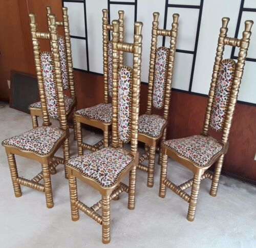 Mid Century Floral Tapestry Dining Chairs Hollywood Regency Set of 6 Custom Made