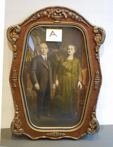 Antique Gesso Wood FRAME w/ CONVEX Bubble Glass  & carved CROWN **lovely** A